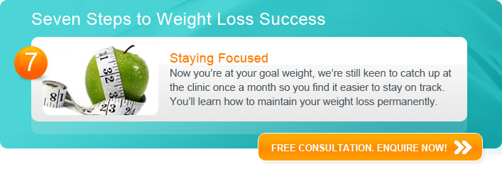 Staying Focused - Now you're at your goal weight, we're still keen to catch up at the clinic once a month so you find it easier to stay on track.  You'll learn how to maintain your weight loss permanently.